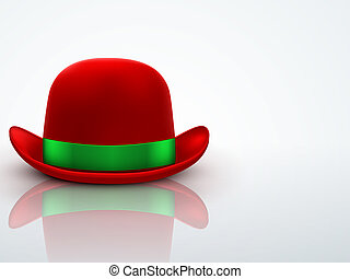 Red bowler hat on a light background. vector