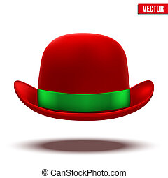 Red bowler hat on a white background. vector