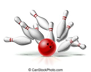 Red Bowling Ball crashing into the pins. Illustration of bowling strike isolated on white background.