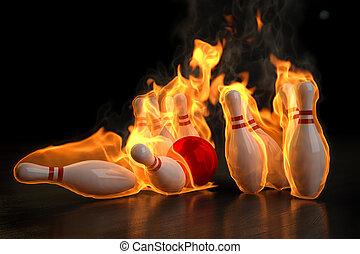 bowling - red bowling ball knocks down flaming skittles. 3d ...