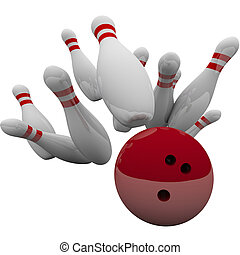 Red Bowling Ball Striking Pins Winning Success Game - Red...
