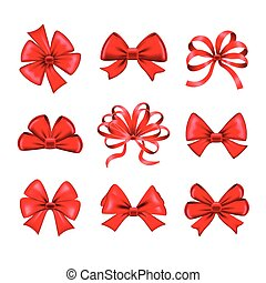 Red bows vector set