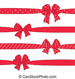 Red bows with ribbons
