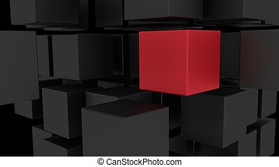 Red box among array of black cubes 3d illustration