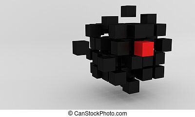 Red box among array of black cubes floating 3d illustration