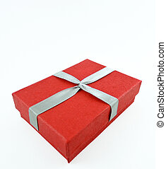 Red box and ribbon on white backgrounds