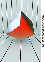 Red Box geometric shape - 3d rendered illustration