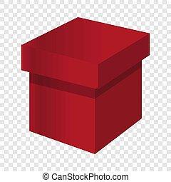 Red box icon, cartoon style