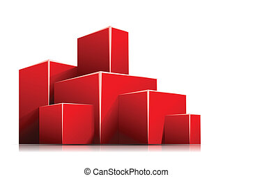Red box - Bright white background with 3d red box
