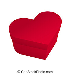 Red box in heart shape isolated on white background Realistic vector illustration