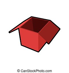 red box package open delivery icon. Vector graphic