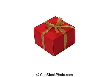 Red box with a bow of gold braid isolated on a white background. Gift.