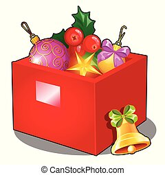 Red box with Christmas decorations and baubles isolated on white background. Sample of poster, party holiday invitation, festive card. Vector cartoon close-up illustration.
