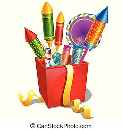 Red box with colorful holiday fireworks isolated on white background. Sample of poster, party holiday invitation, festive card. Vector cartoon close-up illustration.