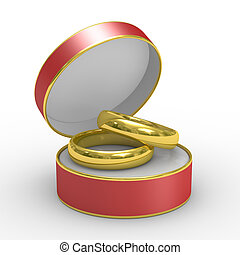 Red box with two wedding rings. Isolated 3D image