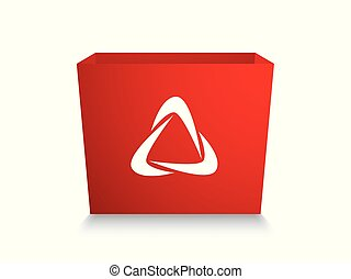red box with white stylized recycling logo, 3d template