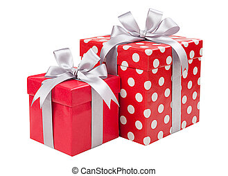 Red boxes gifts tied with gray bows isolated on white...