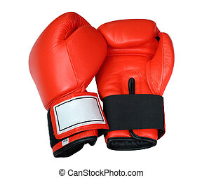 Red Boxing Gloves - A pair of red boxing gloves on white...