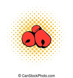 Red boxing gloves icon, comics style