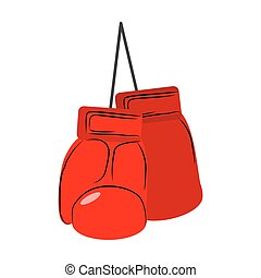 Red boxing gloves isolated. Sports accessories on white background