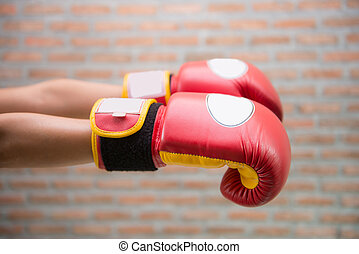 "Red Boxing Gloves ""MUAY THAI"""