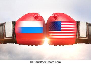 Russia vs USA concept