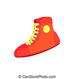 Red boxing shoes, sports equipment. Colorful cartoon vector Illustration