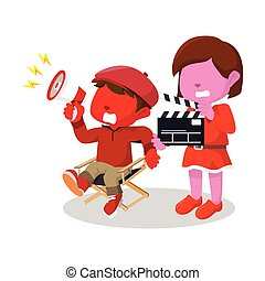 red boy director and girl movie assistant