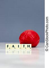 Red brain with faith sign