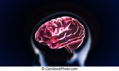 red brain with head section glow
