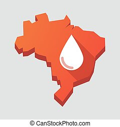 Red Brazil map with a blood drop