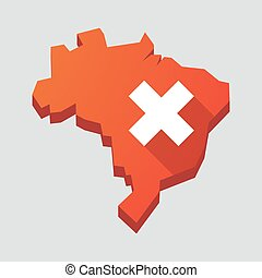 """Red Brazil map with an """"x"""" sign"""