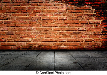 Red Brick And Cement Flooring.