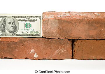 Red Brick and Dollar with white background