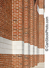 Red Brick Columns into Distance