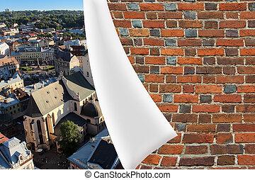 brick cuff on the beautiful panorama of Lvov city