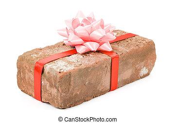 Red Brick Gift, Concept of joke, make fun of somebody, gift on April Fool's Day, Prank gift