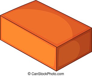 Red brick icon, cartoon style