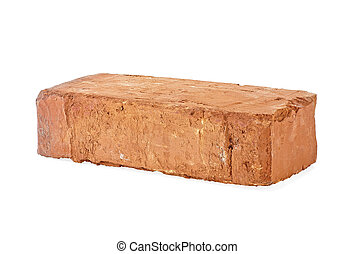 Red brick isolated on a white background