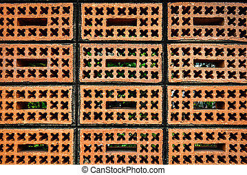 Red Brick patterns with cross and square on block