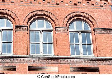 Red Brick Richardsonian Romanesque Building Window
