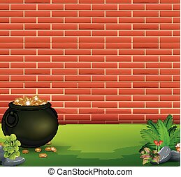 Red brick wall background with pot of coins