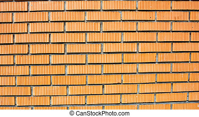 Red brick wall, brick background, building element