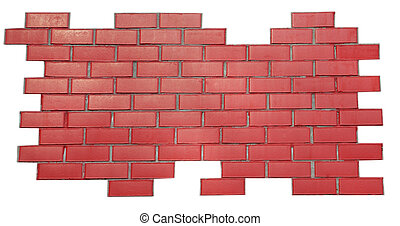 red brick wall isolated on white
