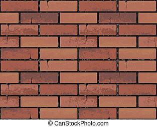 Red brick wall seamless texture background. Vector illustration pattern for continuous replicate. Endless web page fill