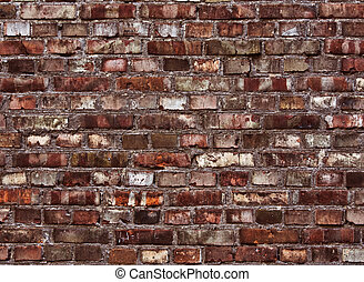 Red brick wall texture - Rough and weathered red brick wall