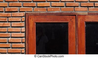 red brick wall texture wooden frame