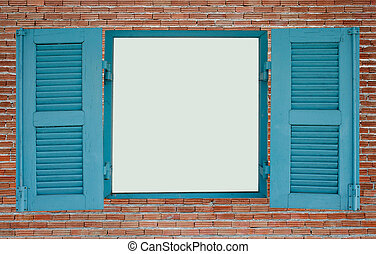 Red brick wall with blue wood window