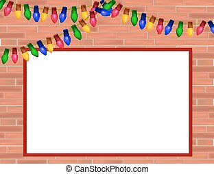 Red  brick wall with Christmas lights and frame for some text.