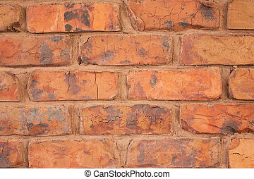 Red Brick Wall with Orange Brown Mortar